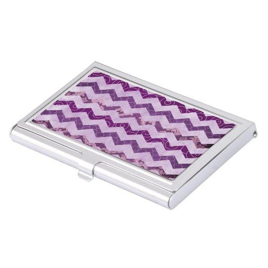 Modern Purple Chevron Pattern Floral Business Card Holders