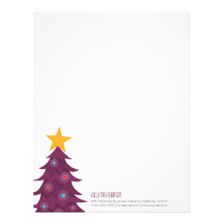 Modern Purple Christmas Tree Personal Letterhead