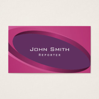 Modern Purple Curves Reporter Business Card