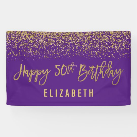 Modern Purple Faux Gold Glitter 50th Birthday Banner