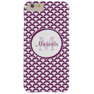 Modern Purple Fish Scales Name and Monogram Barely There iPhone 6 Plus Case