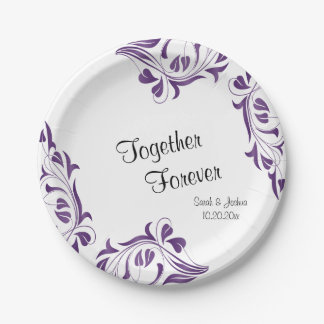 Modern Purple Floral 7 Inch Paper Plate
