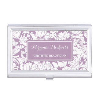 Modern Purple Floral Girly Certified Beautician Business Card Holder