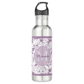 Modern Purple Floral Girly Monogram With Name 710 Ml Water Bottle