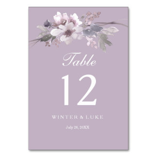 Modern Purple Floral Watercolor Wedding Table Card