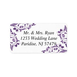 Modern Purple Floral | Wedding Label