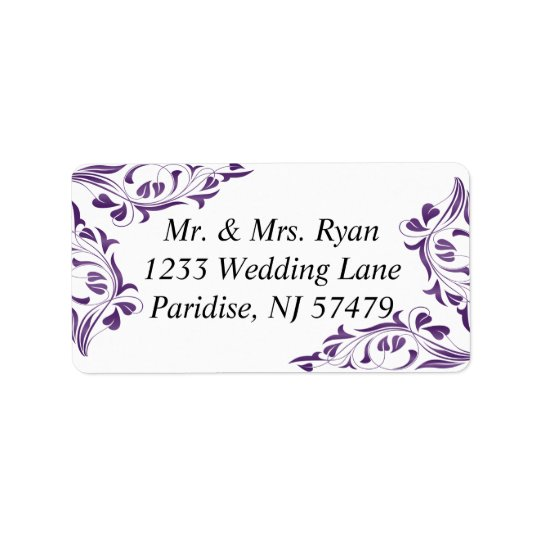 Modern Purple Floral | Wedding Label