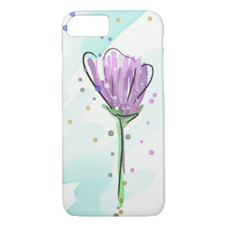 Modern  Purple Flower Pattern Watercolor iPhone 8/7 Case