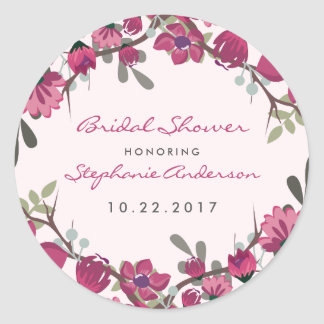 Modern Purple Flowers & Typography Bridal Shower Classic Round Sticker