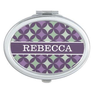 Modern Purple Geometric Circle Pattern Monogram Mirror For Makeup