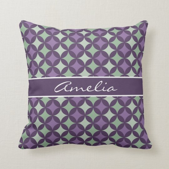 Modern Purple Geometric Circle Pattern Monogram Throw Pillow