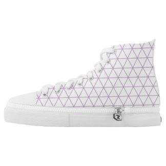 Modern Purple Geometric Triangle High Top Shoe