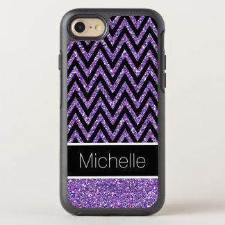 Modern Purple Glitter Black Chevron Stripes OtterBox Symmetry iPhone 8/7 Case