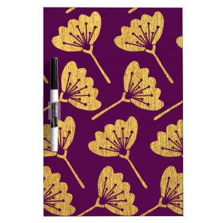 Modern Purple & Gold Florals Dry Erase Board