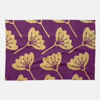 Modern Purple & Gold Florals Kitchen Towel
