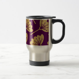 Modern Purple & Gold Florals Travel Mug