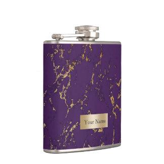 Modern Purple & Gold Marble Texture Hip Flask