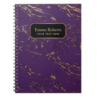 Modern Purple & Gold Marble Texture Notebook