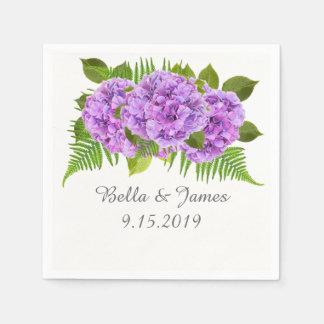 Modern Purple Hydrangea Wedding Collection Napkins Disposable Napkin