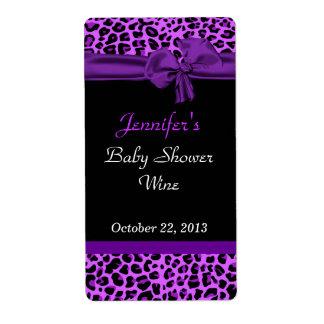 Modern Purple Jaguar Print Event Wine Labels