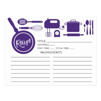 Modern Purple Kitchen Utensils Recipe Card Postcard