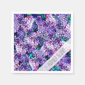 Modern purple lavender floral watercolor pattern paper napkin