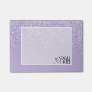 Modern purple lavender glitter ombre color block post-it notes