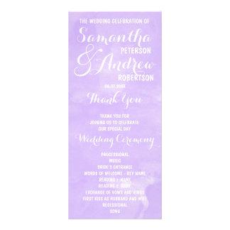 Modern purple lavender watercolor Wedding Program