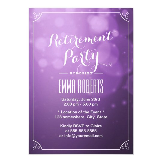 Modern Purple Lights Elegant Retirement Party Card