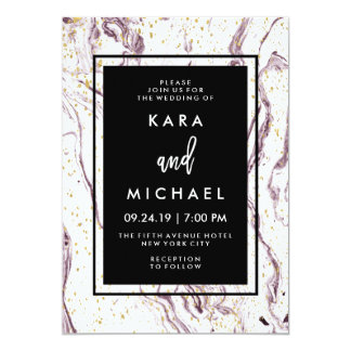 Modern Purple Marble and Faux Gold Flakes Wedding Card