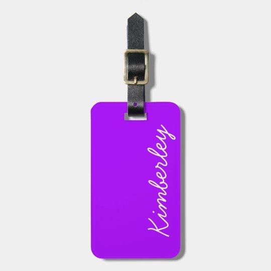 Modern Purple Neon Monogram Trendy Fashion Colours Luggage Tag