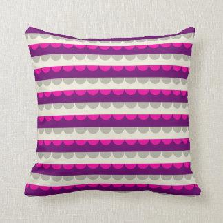 Modern Purple Pink Beige Stripes Pattern Throw Pillow