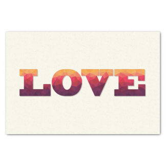 Modern purple, pink, yellow Love word on tissue Tissue Paper