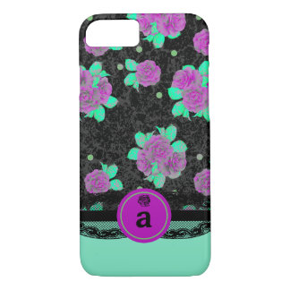 Modern, Purple Rose and Lace iPhone 8/7 Case