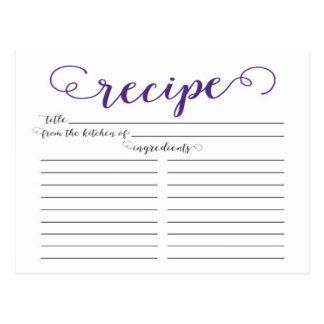 Modern Purple Script Bridal Shower Recipe Cards Postcard