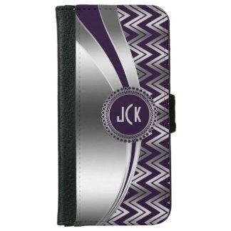 Modern Purple & Silver Geometric Zigzag Chevron 2b iPhone 6 Wallet Case