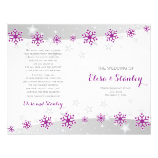 Modern purple snowflakes & stars wedding program