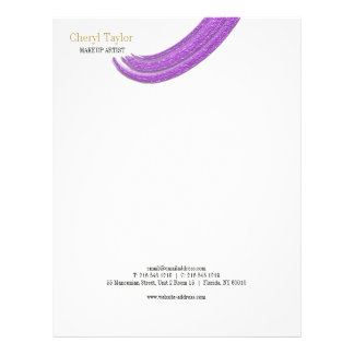 Modern Purple Textured Brush Chic Personalized Letterhead