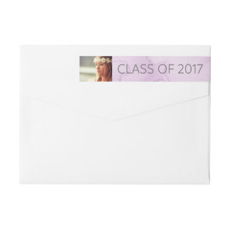 Modern Purple Watercolor   Class of 2017 Photo Wraparound Return Address Label