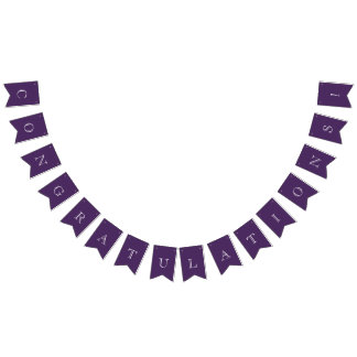 Modern Purple & White Congratulations Bunting Flags
