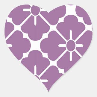 Modern purplish flower pattern heart sticker