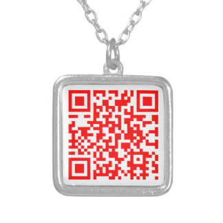 Modern QR Code Business Card Silver Plated Necklace