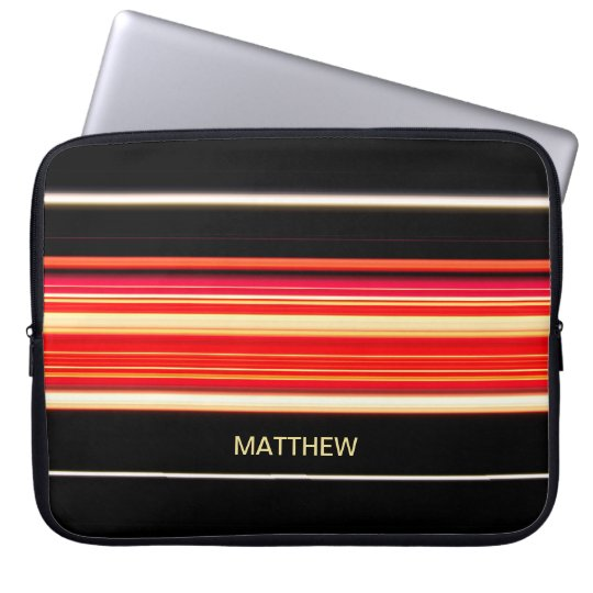 Modern Racing Stripes Personalized Laptop Sleeve