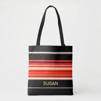 Modern Racing Stripes Personalized Tote Bag