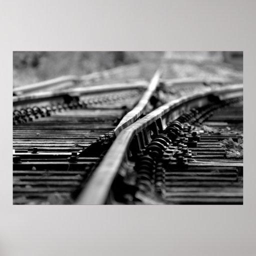 Modern Railroad Tracks Poster
