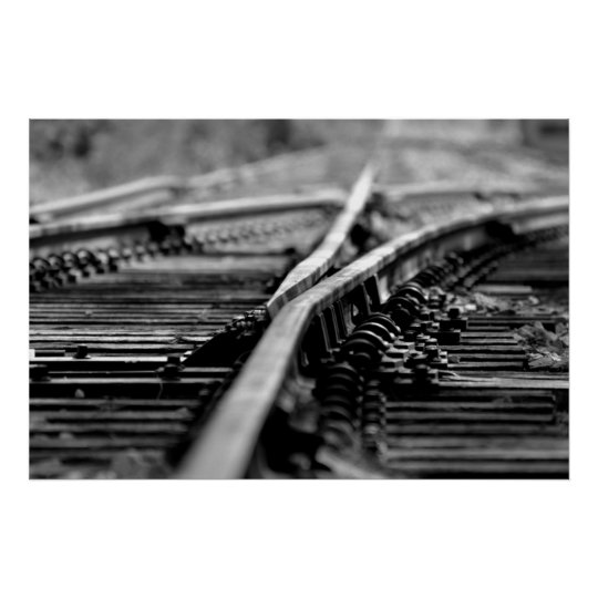 Modern Railroad Tracks Poster