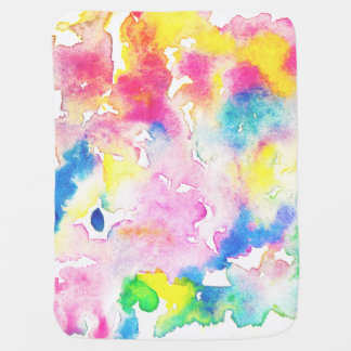 Modern rainbow abstract watercolor splatters baby blanket