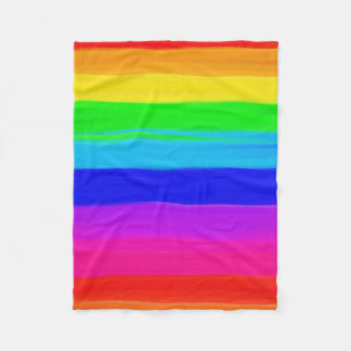 Modern rainbow brushstrokes paint striped pattern fleece blanket