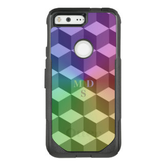 Modern Rainbow Geometric Cubes Pattern OtterBox Commuter Google Pixel Case