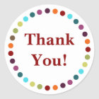 Modern Rainbow Polka Dots Thank You Classic Round Sticker